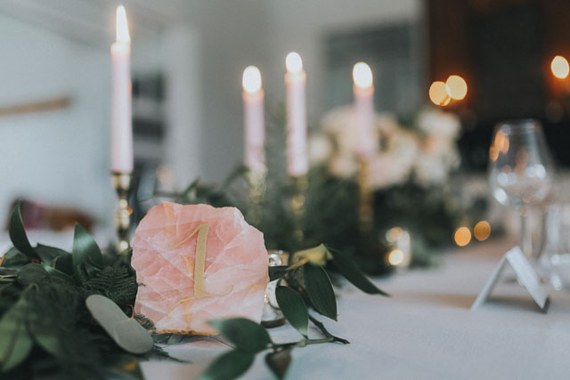 An intimate and romantic art studio wedding styled shoot with a palette of gray, white, gold and rose quartz by Summer Rayne Photo and Sweetheart Events