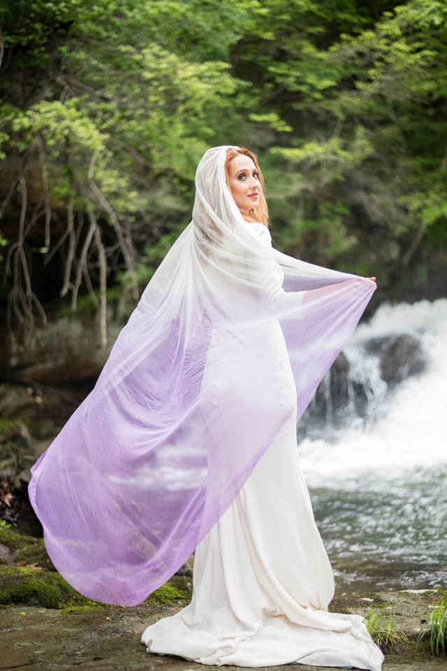A romantic waterfall wedding inspiration shoot with a purple ombre veil by Tabitha Stover Photography
