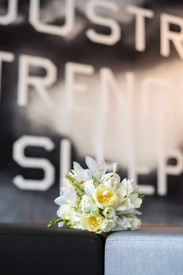 A modern art hotel wedding styled shoot in Denver with chic details and a simple yet sophisticated palette by The Unfound Door