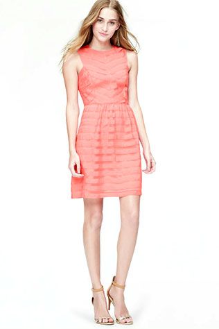 Sheer Stripe Flare Dress | Wear it Again Coral Bridesmaid Dresses for Spring