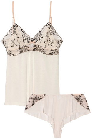 Eberjey Paloma Lace-Paneled Stretch-Jersey Camisole & Shorts | What to Wear for a Boudoir Session: Sweet & Feminine Lingerie and Robes