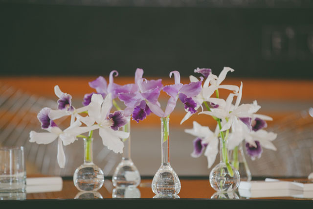 This incredibly creative and science-themed chemistry wedding inspiration shoot featured tons of orchids, local food & cocktails and butterfly specimens by Wright Photographs