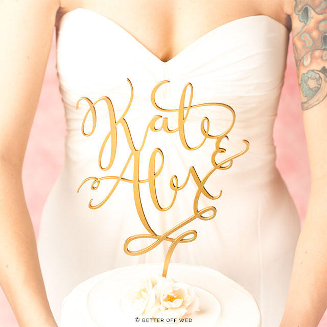 Custom Gold Cake Topper by Better Off Wed on Etsy | The A to Z Guide to Planning an Etsy Wedding