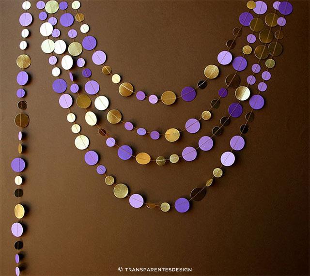 Gold and Purple Wedding Garland by TransparentEsDecor on Etsy | The A to Z Guide to Planning an Etsy Wedding