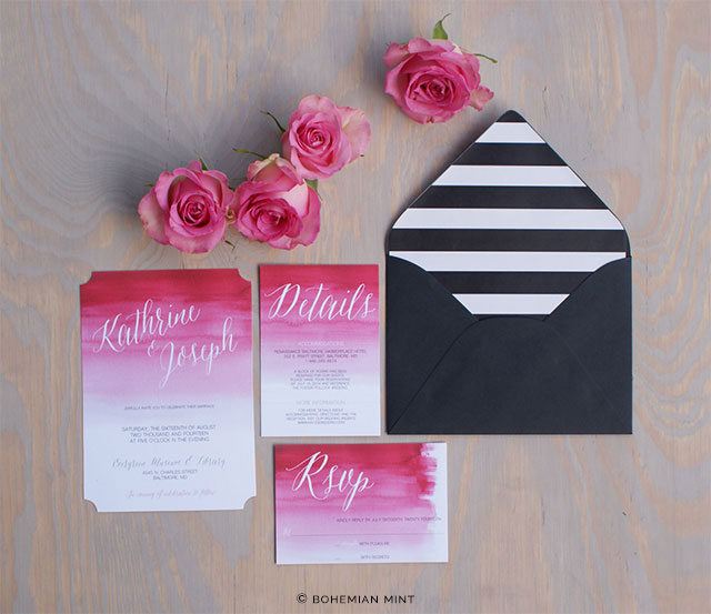 Pink Watercolor Ombre Wedding Invitation by Bohemian Mint on Etsy | The A to Z Guide to Planning an Etsy Wedding