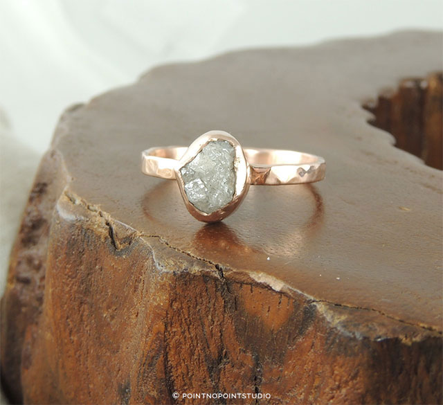 Rough Diamond Ring 14K Rose Gold by PointNoPointStudio on Etsy | The A to Z Guide to Planning an Etsy Wedding