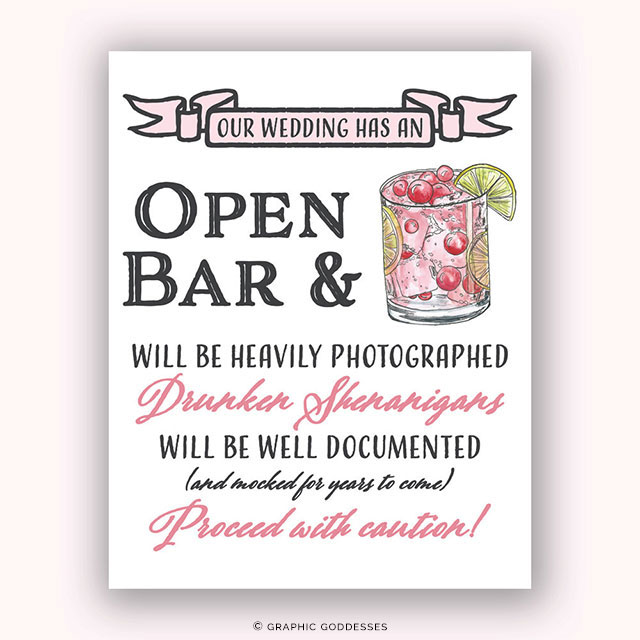 Custom Watercolor Open Bar Print Cocktail Sign by Graphic Goddesses on Etsy | The A to Z Guide to Planning an Etsy Wedding