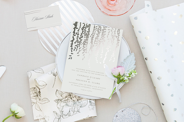 Cascade Foil-Pressed Wedding Invitations   Minted's New Wedding Websites Help You Coordinate from Mailbox to Inbox