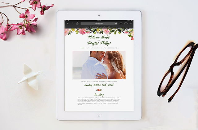 Watercolor Floral Wedding Website   Minted's New Wedding Websites Help You Coordinate from Mailbox to Inbox