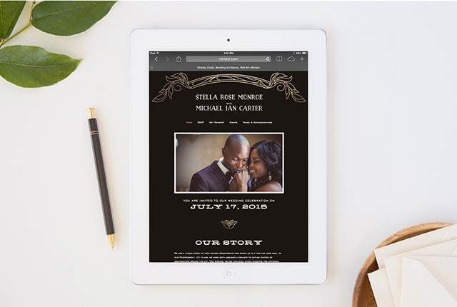 Antique Lines Wedding Website   Minted's New Wedding Websites Help You Coordinate from Mailbox to Inbox