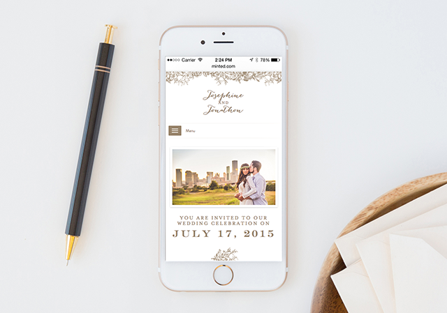 Engraved Flowers Wedding Website   Minted's New Wedding Websites Help You Coordinate from Mailbox to Inbox