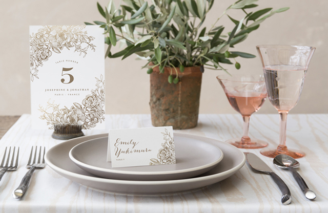 Engraved Flowers Reception Decor   Minted's New Wedding Websites Help You Coordinate from Mailbox to Inbox