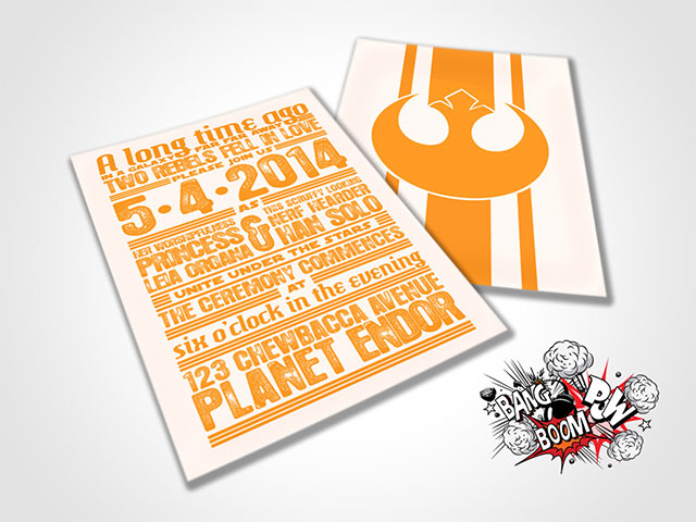 DIY Rebels in Love Wedding Invitations by BangBoomPowDesign on Etsy | 10 Star Wars Wedding Ideas for Super Fans
