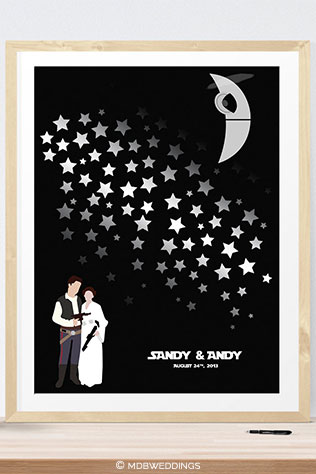 Star Wars Wedding Sign with Death Star by MDBWeddings on Etsy | 10 Star Wars Wedding Ideas for Super Fans