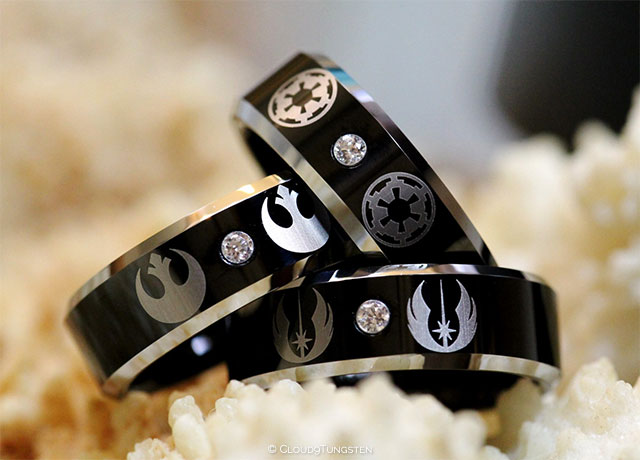 Star Wars Tungsten and Sterling Silver Wedding Ring Set by Cloud9Tungsten on Etsy | 10 Star Wars Wedding Ideas for Super Fans