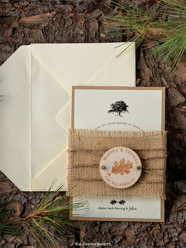 Rustic Burlap and Wood Family Tree Wedding Invitations by forlovepolkadots on Etsy | Wedding Decor and Accessories for a Handmade Fall Wedding