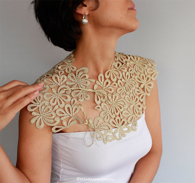 Golden Lace Bridal Capelet by MammaMiaBridal on Etsy | Wedding Decor and Accessories for a Handmade Fall Wedding