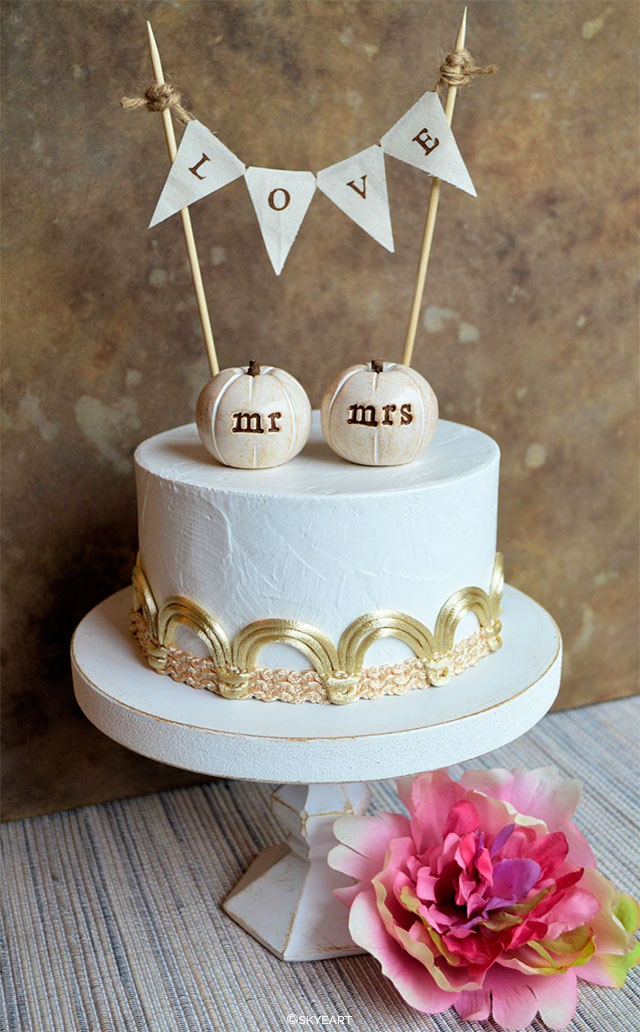 Mr. and Mrs. Pumpkins Cake Topper by SkyeArt on Etsy | Wedding Decor and Accessories for a Handmade Fall Wedding