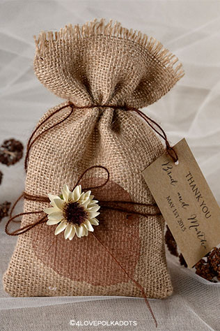 Burlap Favor Bags by forlovepolkadots on Etsy | Wedding Decor and Accessories for a Handmade Fall Wedding