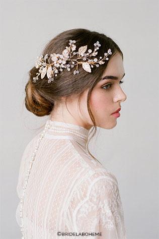 Demi Gold Bridal Leaf Hair Comb Wedding Headpiece by BrideLaBoheme on Etsy | Wedding Decor and Accessories for a Handmade Fall Wedding