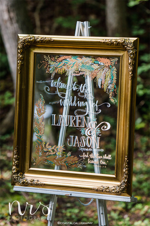 Welcome Wedding Sign on Framed Mirror by CoastalCalligraphy on Etsy | Wedding Decor and Accessories for a Handmade Fall Wedding