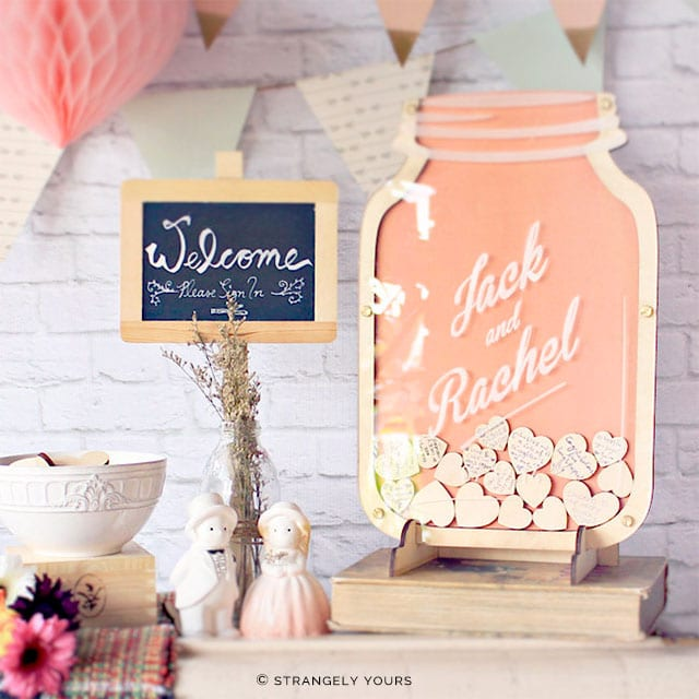 Mason Jar of Hearts Personalized Guest Book by Strangely Yours on Etsy | 5 Awesome Wedding Guest Book Alternatives