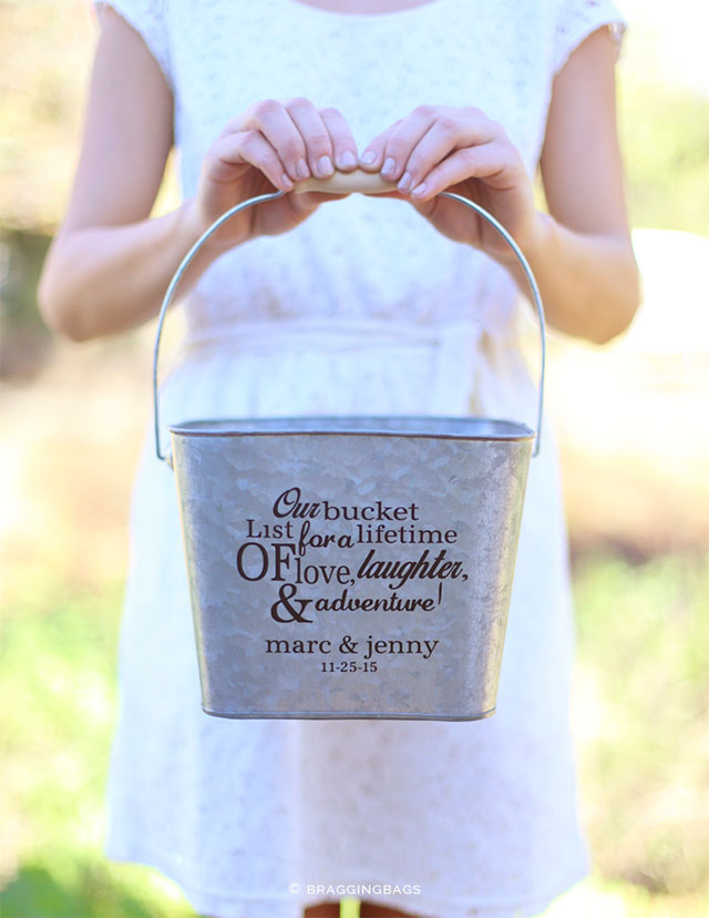 Bucket List Wedding Guest Book Alternative by BraggingBags on Etsy | 5 Awesome Wedding Guest Book Alternatives