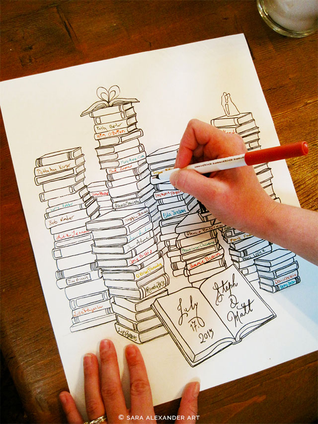 Personalized Book Lovers Guest Book Alternative by Sara Alexander Art on Etsy | 5 Awesome Wedding Guest Book Alternatives