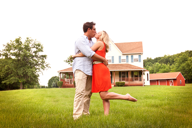 A sunset summer farmhouse engagement session at the couple's Pennsylvania home // photos by a guy + a girl photography: http://aguyandagirlphotography.com || see more on https://blog.nearlynewlywed.com
