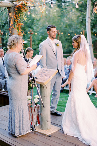A lovely, rustic autumn wedding in South Lake Tahoe with an outdoor ceremony and a s'mores bar by Alp & Isle