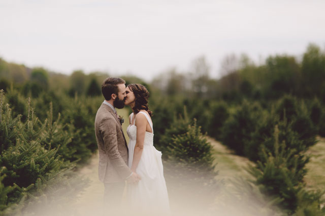 A magical Christmas tree farm wedding with amazing vintage details by Alyssa Shrock Photography and Oh Darling Events