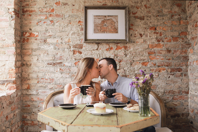 A stylish cafe-inspired engagement session at the Iron Bank Coffee Co. in Georgia // photos by Amanda Berube Photography: http://www.amandaberube.com || see more at: https://blog.nearlynewlywed.com/real-couples/engagements/stylish-cafe-engagement-session/
