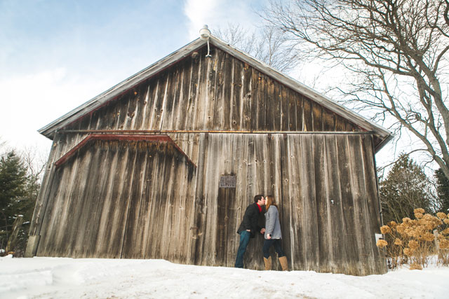 An adorable snowy engagement session at a barn in Wisconsin | Amenson Studio: http://www.amensonstudio.com
