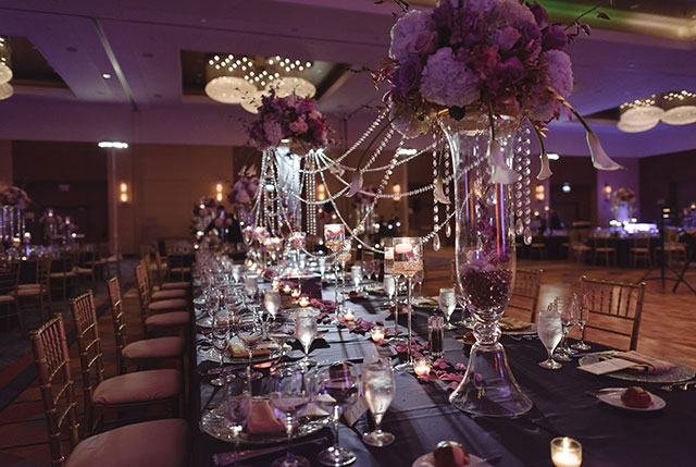 A luxe purple wedding in Chicago with a church ceremony and lavish reception by Amy Aiello Photography