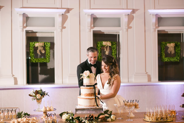 A classic and elegant black and gold New Year's Eve wedding by Ashley Steeby Photography and Dairing Events