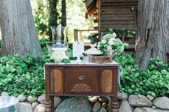 A beautiful lakeside calligraphy inspired wedding with vintage rentals and greenery by B. Jones Photography
