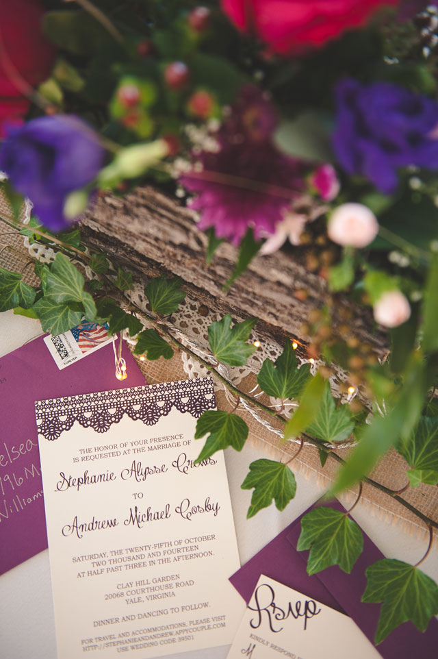 A rustic garden party barn wedding with purple and lace details | Bit of Ivory Photography: http://www.bitofivoryphotography.com
