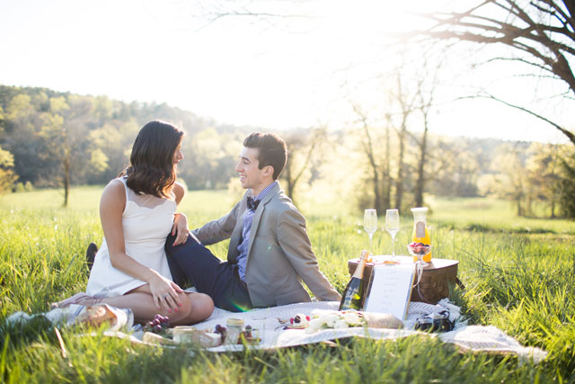 A sweet picnic engagement session at the golden hour by Blue Barn Photography and La Cosa Bella Events