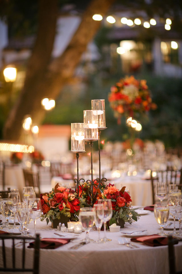 A warm and inviting autumn wedding in shades of burgundy, orange and yellow at Rancho Las Lomas | BrittRene Photo: http://brittrenephoto.com