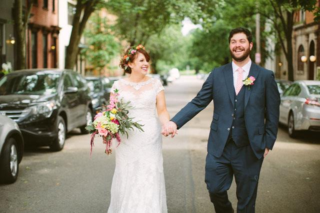An urban boho wedding with gorgeous greenery and a corgi flower girl by Caitlin Thomas Photography