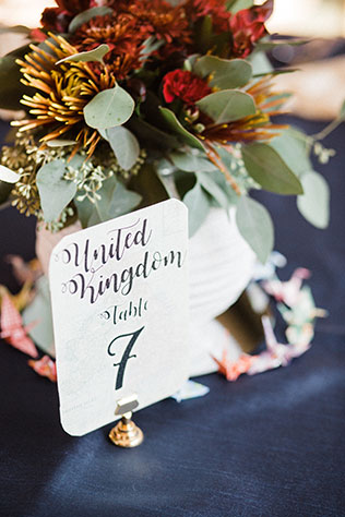 A gorgeous multicultural wedding with rich fall tones and origami cranes at Carillon Historical Park by Chelsea Hall Photography and Hatfield Productions