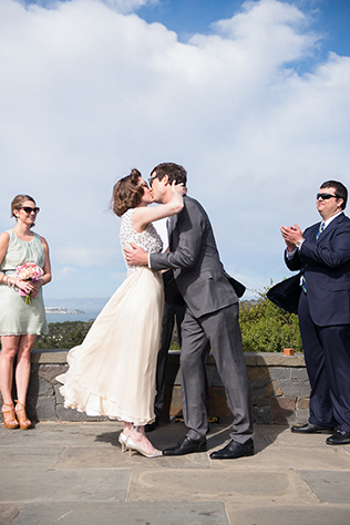 A retro-inspired summer wedding at the Presidio Social Club by Chloe Jackman Photography || see more on blog.nearlynewlywed.com