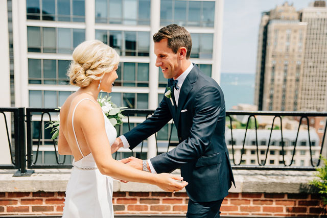 An elegant and romantic summer wedding in Chicago with a lovely blue palette by Claire and Barrett and Citygirl Events