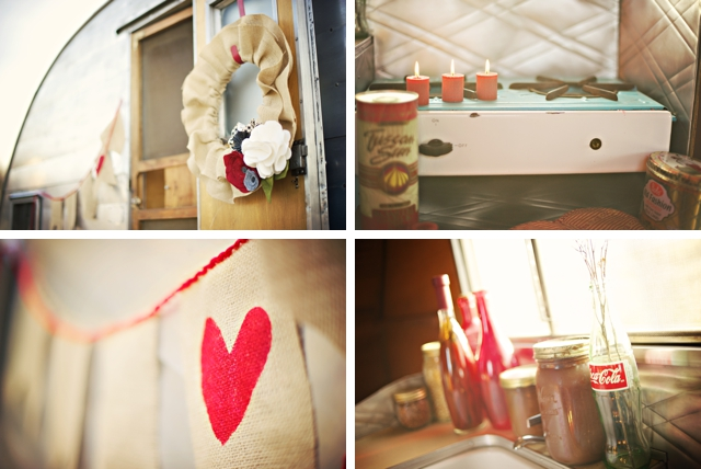 A stylized love shoot with a vintage trailer and bikes by fotoNovella || see more on blog.nearlynewlywed.com
