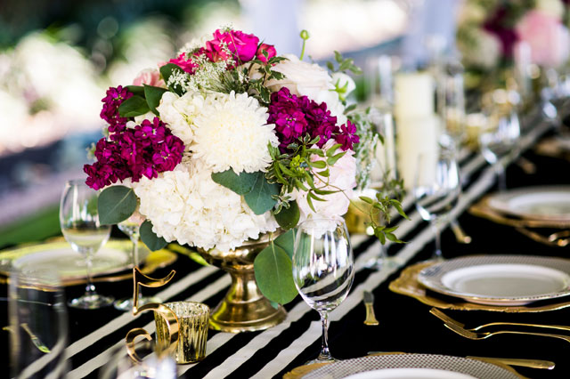 A perfectly chic black and white striped Villa Del Lago wedding with pops of fuchsia and gold by Cory Ryan Photography