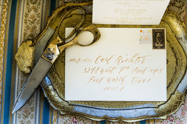 A chic gold calligraphy destination wedding at a historic venue in Austin by Cory Ryan Photography