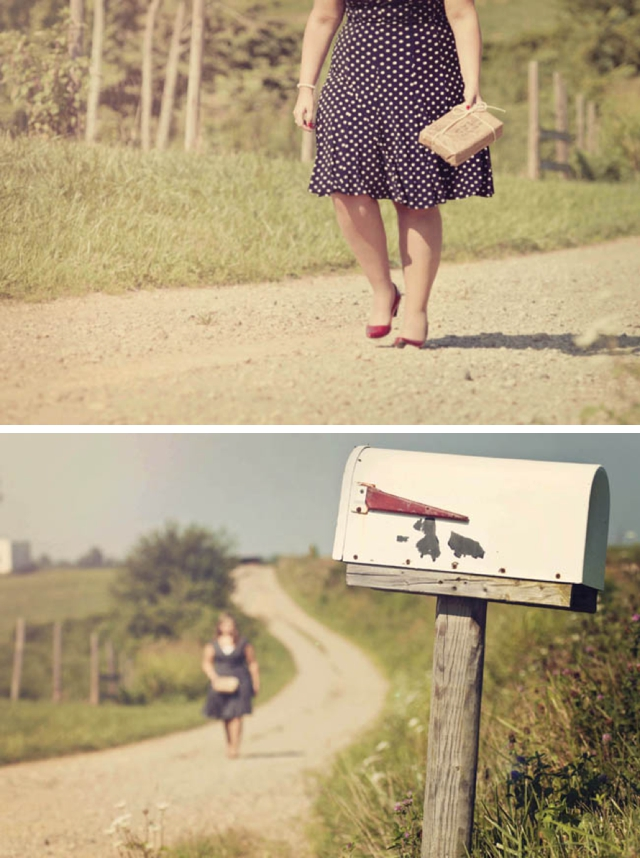 A love story told through images by Connection Photography: she writes a love letter and as she goes to place it in the mailbox, he arrives home from war | see more on blog.nearlynewlywed.com