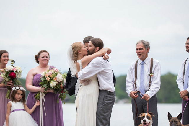 A gorgeous lakeside wedding in Georgia with a handmade wedding dress, a cake tree and a boat sendoff by Eliza Morrill Photography
