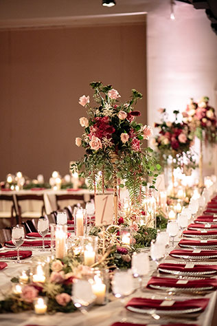 A classic Greek wedding at the opera center in Nashville with an elegant color palette of cream, burgundy and gold by Erin Lee Allender Photography