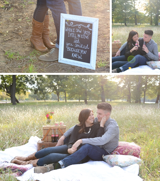 Autumn picnic engagement session with Coca Cola by Eureka Photography || see more on blog.nearlynewlywed.com